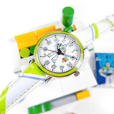 Disney 迪士尼 玩具總動員 巴斯光年 日本機芯 兒童卡通 皮革手錶-白x綠/32mm