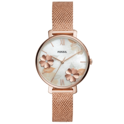 FOSSIL Jacqueline 優雅花漾米蘭帶手錶ES4534-玫瑰金框/36mm