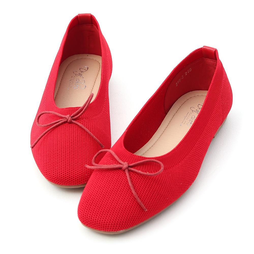 D+AF 甜美雅緻.透氣針織芭蕾娃娃鞋*紅