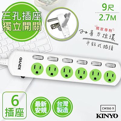 【KINYO】9呎2.7M 3P6開6插安全延長線(CW366-9)台灣製造‧新安規