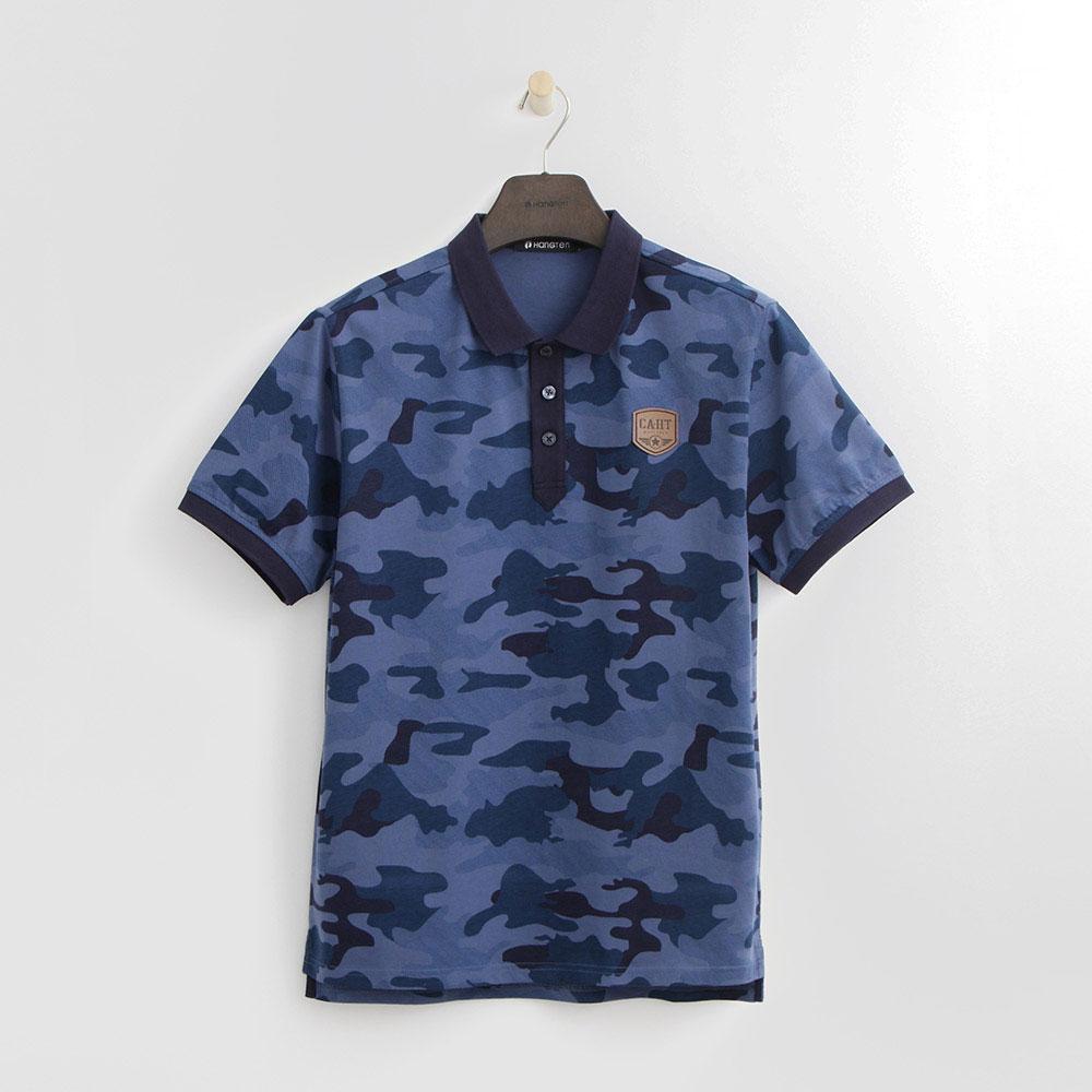 Hang Ten - 男裝 - 經典迷彩POLO衫-藍色