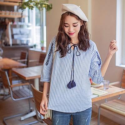 親子系列~流蘇綁帶高含棉直條紋刺繡上衣-OB大尺碼