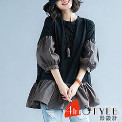 圓領拼接七分燈籠袖上衣 (黑色)-4inSTYLE形設計