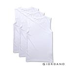 GIORDANO 男裝素色純棉無袖背心(三件組)-21 標誌白