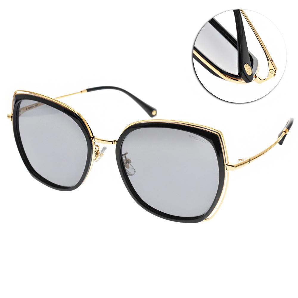 SEROVA偏光太陽眼鏡 流行百搭款/黑金 #SS9028 C7
