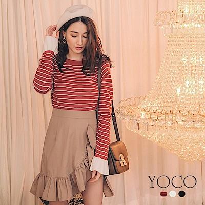 東京著衣-yoco 細緻手感喇叭袖圓領針織長袖上衣-S.M.L(共三色)