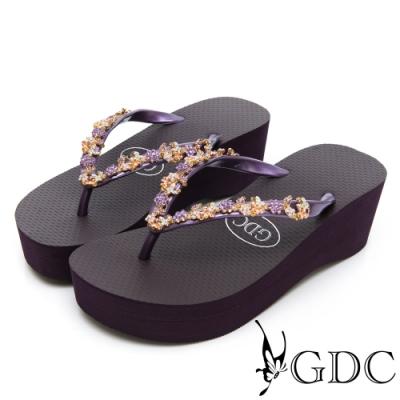 GDC-夏日彩鑽休閒必備微厚底夾腳拖-紫色