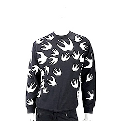 MCQ 燕子印花黑色長袖棉質運動衫(男/女可穿)