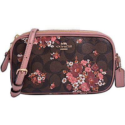 COACH 經典滿版LOGO花卉圖案防刮皮革雙層拉鍊斜背包-焦糖色x藕紫粉