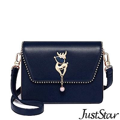 Just Star 花漾萌鹿飾釦雙層包 夢境藍