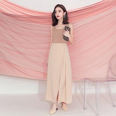 東京著衣-KODZ 溫柔質感打褶後鬆緊寬褲裙-S.M.L(共兩色)