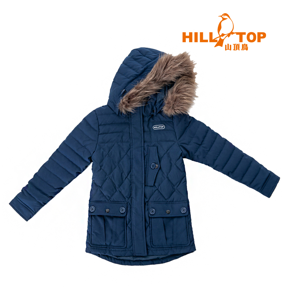 【hilltop山頂鳥】童款超撥水蓄熱羽絨短大衣F22CJ0黑深藍