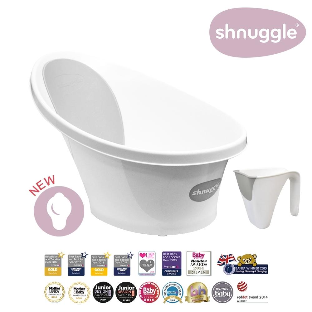 【英國Shnuggle】月亮澡盆-時尚灰(嬰兒浴盆)+小小水瓢