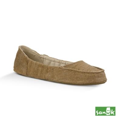 SANUK 女款US5 舒適帆布娃娃鞋(卡其色)
