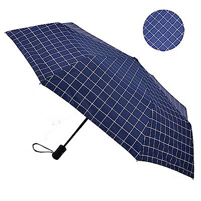 2mm 100%遮光 簡約系黑膠降溫自動開收傘-藍格