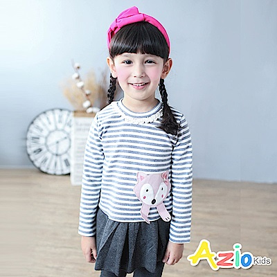 Azio Kids 洋裝 狐狸拼布造型長袖厚棉條紋洋裝(灰)