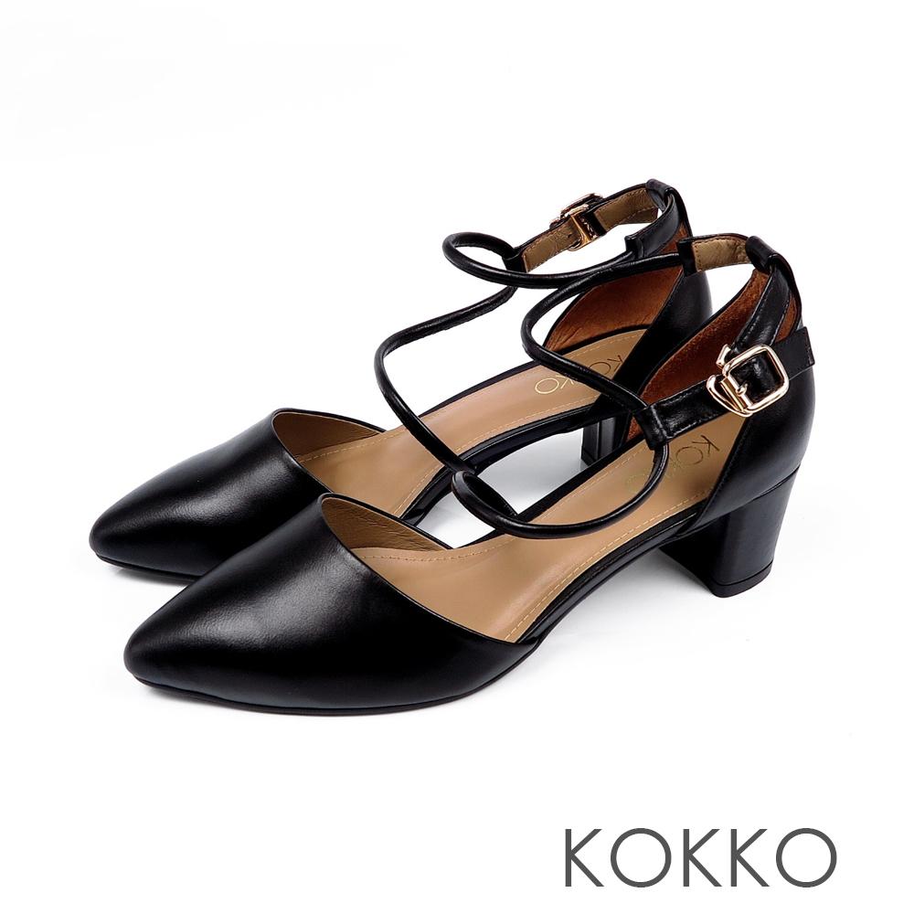 KOKKO - 文藝復興S形流線踝帶尖頭粗跟鞋-優雅黑
