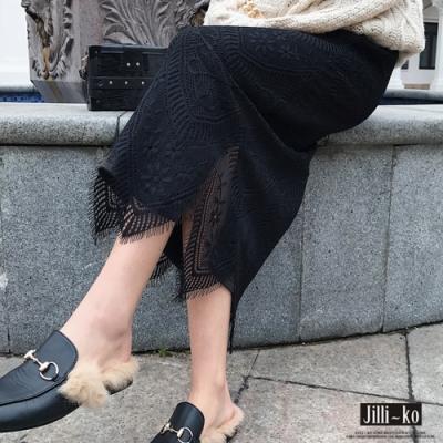 JILLI-KO 造型變化正反兩穿蕾絲針織長裙- 黑