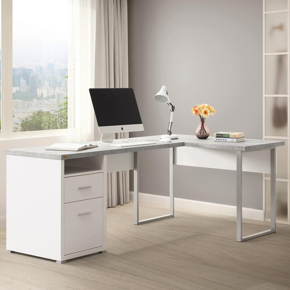 美傢康迪仕摩登L型書桌/兩色可選/DIY組合家具/寬200*深120*高76.2公分