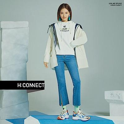 H:CONNECT 韓國品牌 女裝-前開岔小喇叭牛仔褲-藍