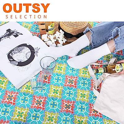 【OUTSY嚴選】限量款輕量印花野餐墊 花與愛麗絲