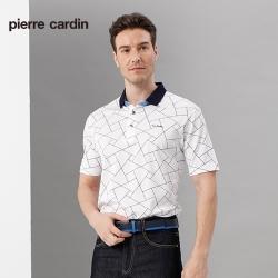 Pierre Cardin皮爾卡登 男裝 長絨棉緹織印花短袖POLO衫-白色(5187222-90)