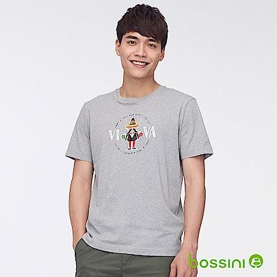 bossini男裝-印花短袖T恤44淺灰