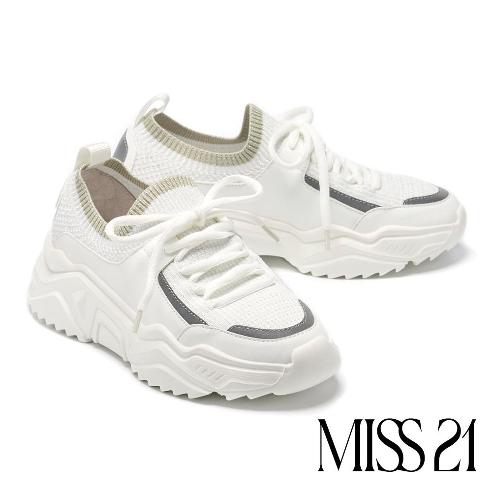休閒鞋 MISS 21 率性機械型異材質綁帶老爹厚底休閒鞋-白