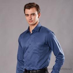 ROBERTA諾貝達 台灣製 合身版 商務型男 暗條紋長袖襯衫 藍色