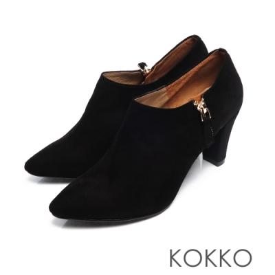 KOKKO -經典尖頭顯瘦感扁跟真皮踝靴 - 霧面黑