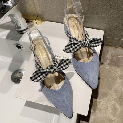 韓國KW美鞋館-(現貨)搶鮮購春色撩人格紋綁帶跟鞋(共1色)