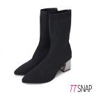 TTSNAP中筒靴-素面顯瘦典雅高跟襪靴 黑