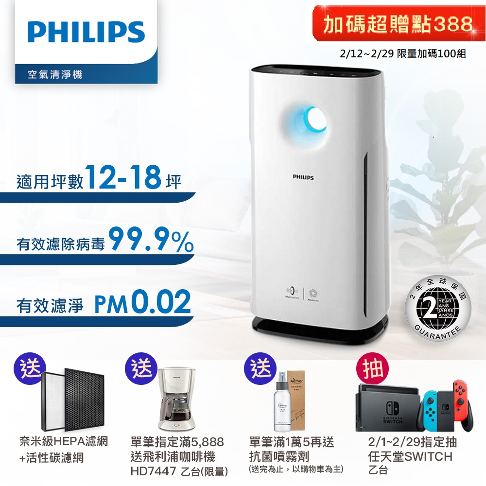 飛利浦PHILIPS 12-18坪 Wifi旋風級抗敏空氣清淨機 AC3259