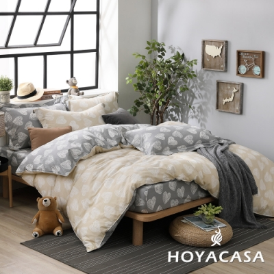 HOYACASA愛情構想 雙人四件式純棉兩用被床包組(天絲入棉30%)