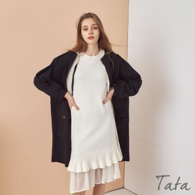 收腰繫帶落肩連帽外套 TATA-(L/XL)