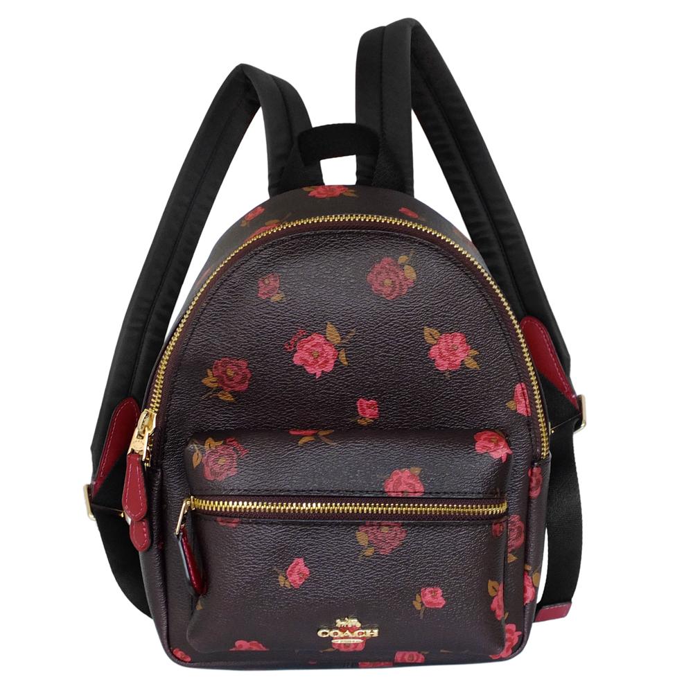 COACH深可可酒紅雙色玫瑰花紋PVC小款後背包