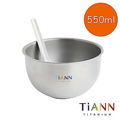 TiANN純鈦餐具雙層鈦碗+台式湯匙套組