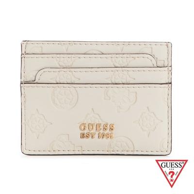GUESS-女夾-壓紋金屬LOGO雙面卡夾-杏 原價990