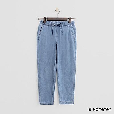 Hang Ten - 女裝 - 鬆緊抽繩棉質九分褲 - 淺藍