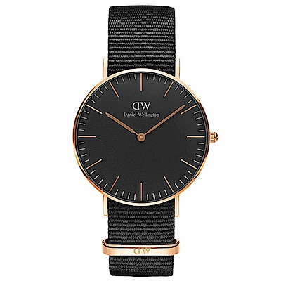DW手錶 官方旗艦店 36mm玫瑰金框 Classic Black 寂靜黑尼龍帆布手錶