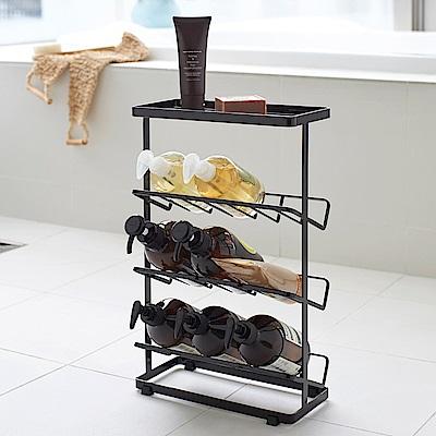 日本 YAMAZAKI-tower分層瓶罐置物架(黑)★浴室收納/置物架/收納