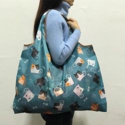 EZlife 環保折疊寬肩帶大容量購物袋(3入組)款式隨機