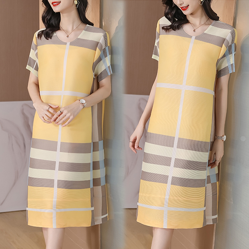 [KEITH-WILL]幸福滿溢三宅壓褶風洋裝 (黃色)