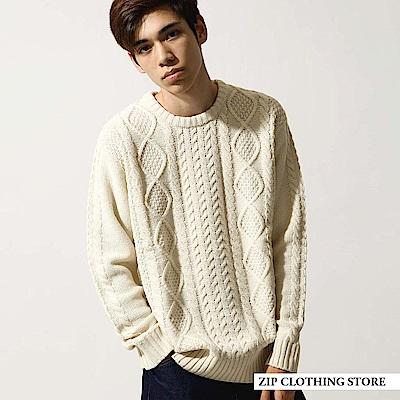 麻花粗針織圓領毛衣(20色) ZIP日本男裝