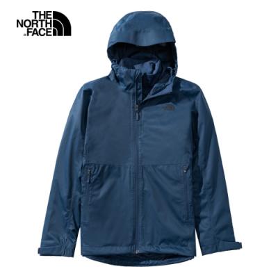 The North Face北面女款深藍色防水透氣連帽三合一外套 4NCZ4LJ