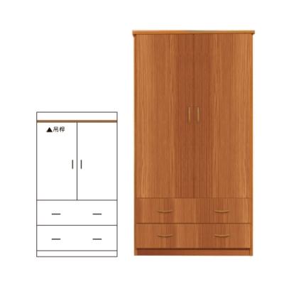 韓菲-南方松色二抽塑鋼雙門衣櫃-91x61.5x180cm