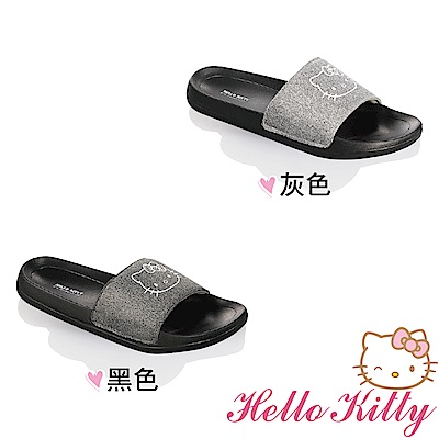 Hello Kitty女鞋 閃亮輕量減壓室內外兩用拖鞋-灰.黑