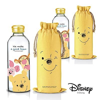 [買一送一] 迪士尼Disney 微笑維尼好朋友耐熱玻璃瓶袋組1L(快)