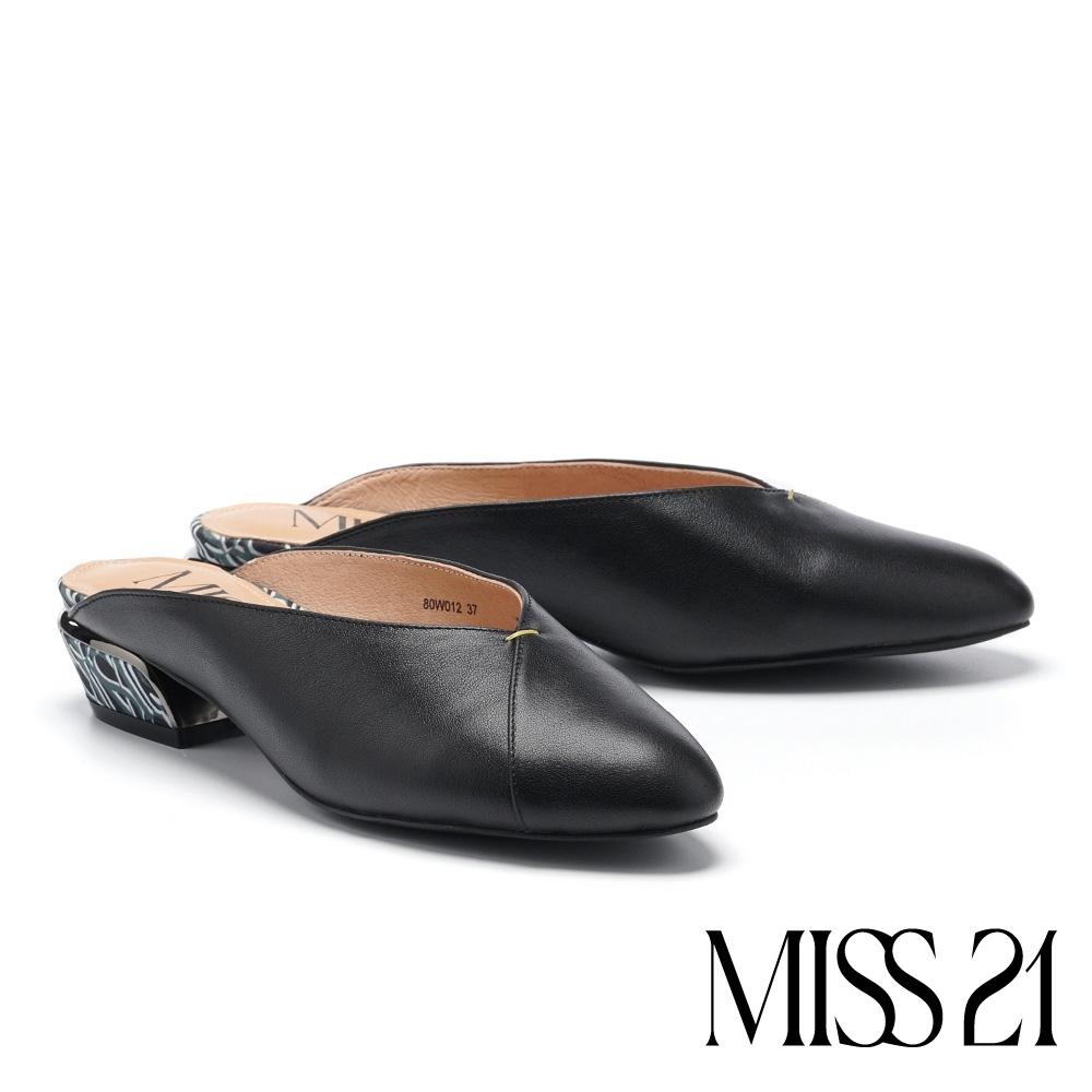 拖鞋 MISS 21 極簡時尚LOGO印花低跟穆勒拖鞋-黑