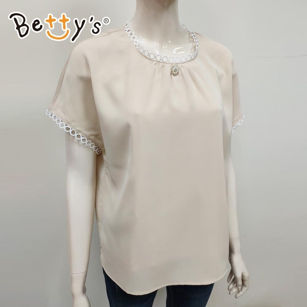 betty's貝蒂思 典雅圈飾圓領上衣(卡其)